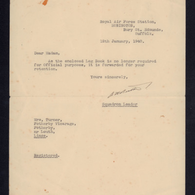 Letter to Kaye Turner from Squadron Leader E Booth